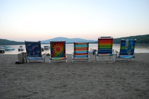 beach chairs on pleasant lake